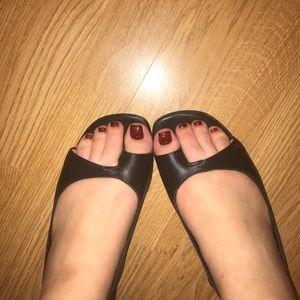 Christian Louboutin Black Leather Flat Sandal